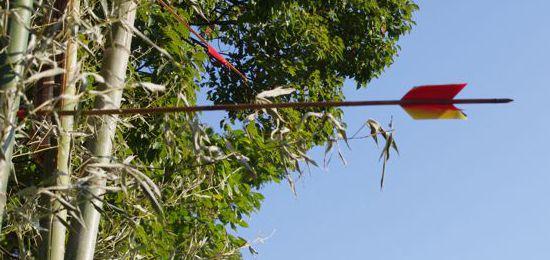 平成29年淀姫神社例大祭流鏑馬神事 的を支える竹に命中してました